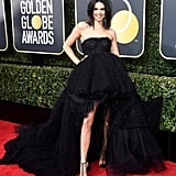 Kendall Jenner Wearing Black Dress at 2018 Golden Globes