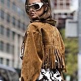 Fringe Jacket Outfit Idea: Cow Print Dress + Sunglasses