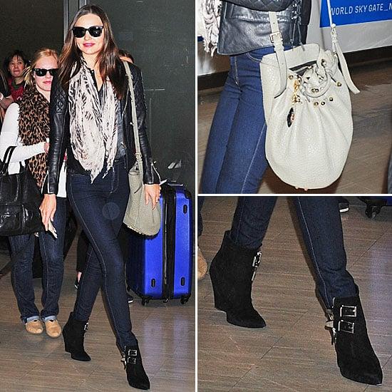 Recreate Miranda Kerr's Stylish Leather Jacket and Skinny Jeans Ensemble with ShopStyle Australia