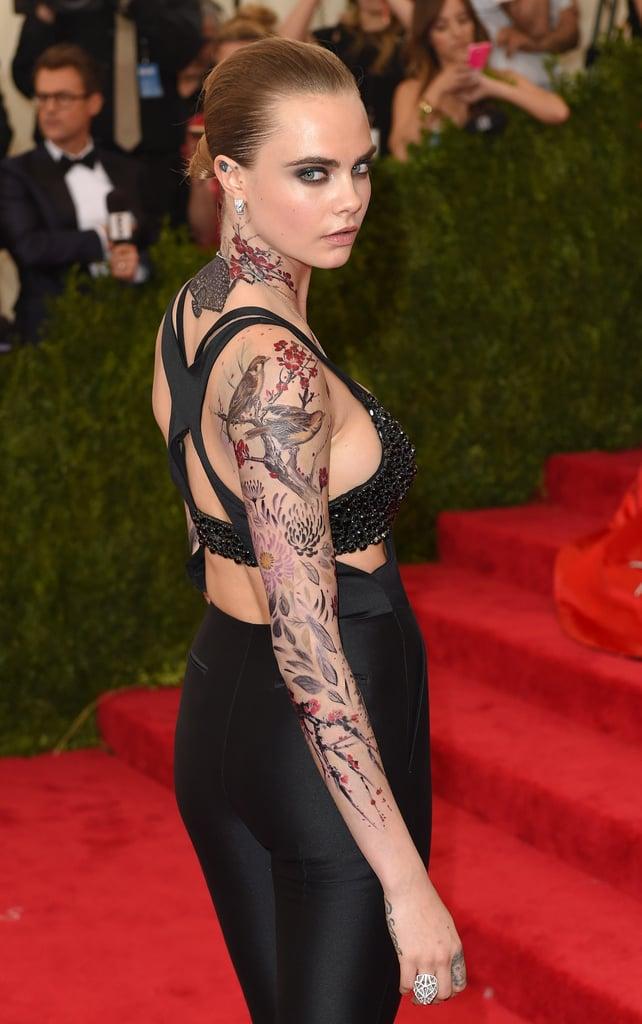 Cara Delevingne's Tattoos at the 2015 Met Gala