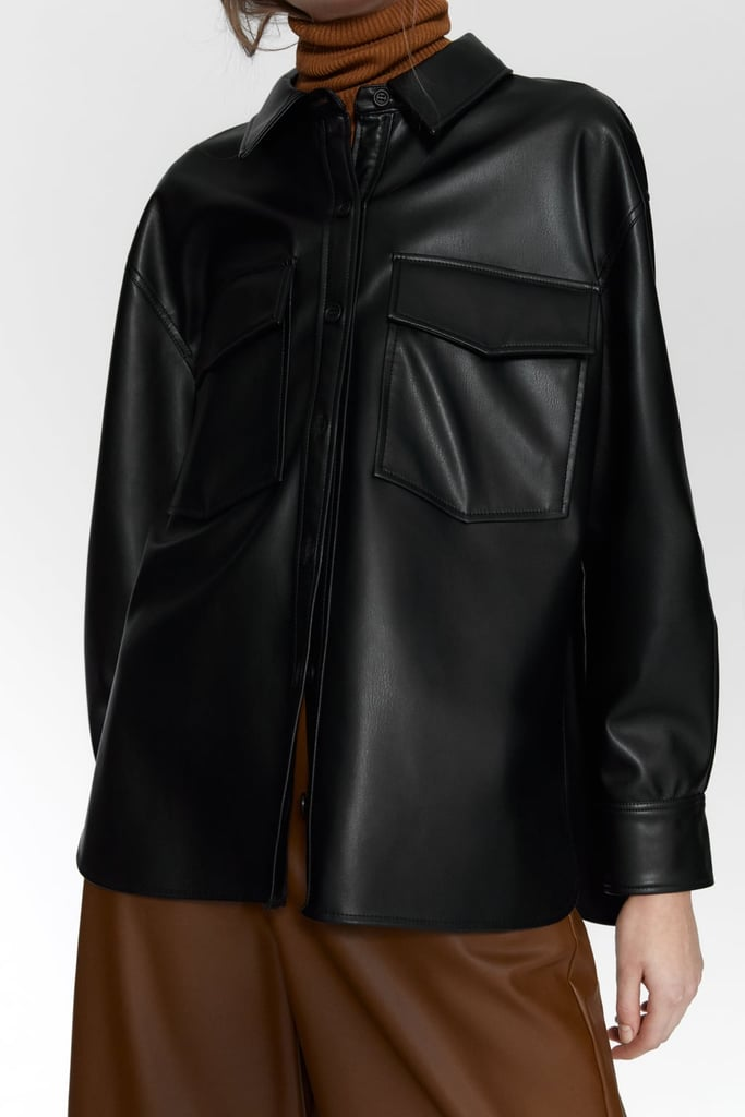 Zara Faux-Leather Shirt With Pockets