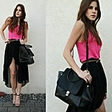 A black skirt is the perfect backdrop for a standout neon pink tank.  Photo courtesy of Lookbook.nu