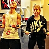 Shawn Johnson and Derek Hough palled around while lifting weights. Source: Instagram user shawnjohnson