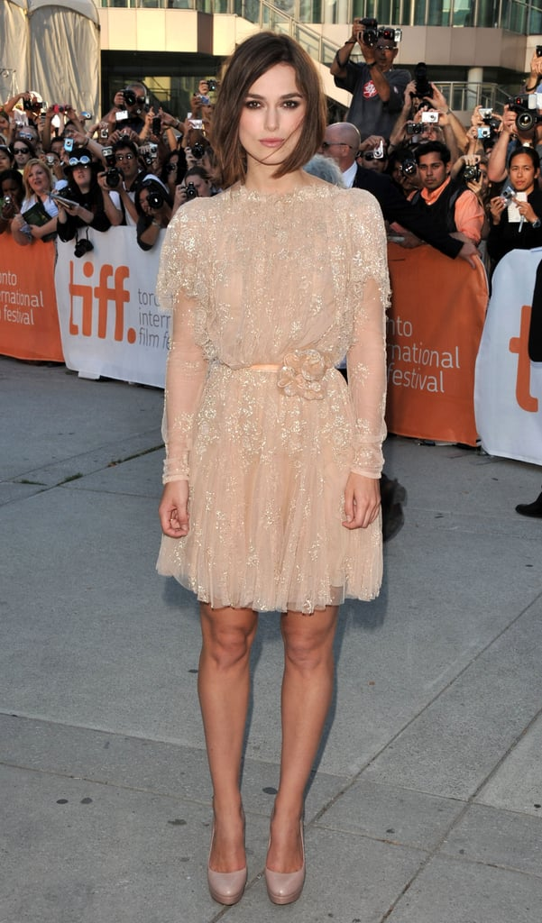 Keira Knightley stepped out in a delicate, nude lace Elie Saab for the premiere of A Dangerous Method.