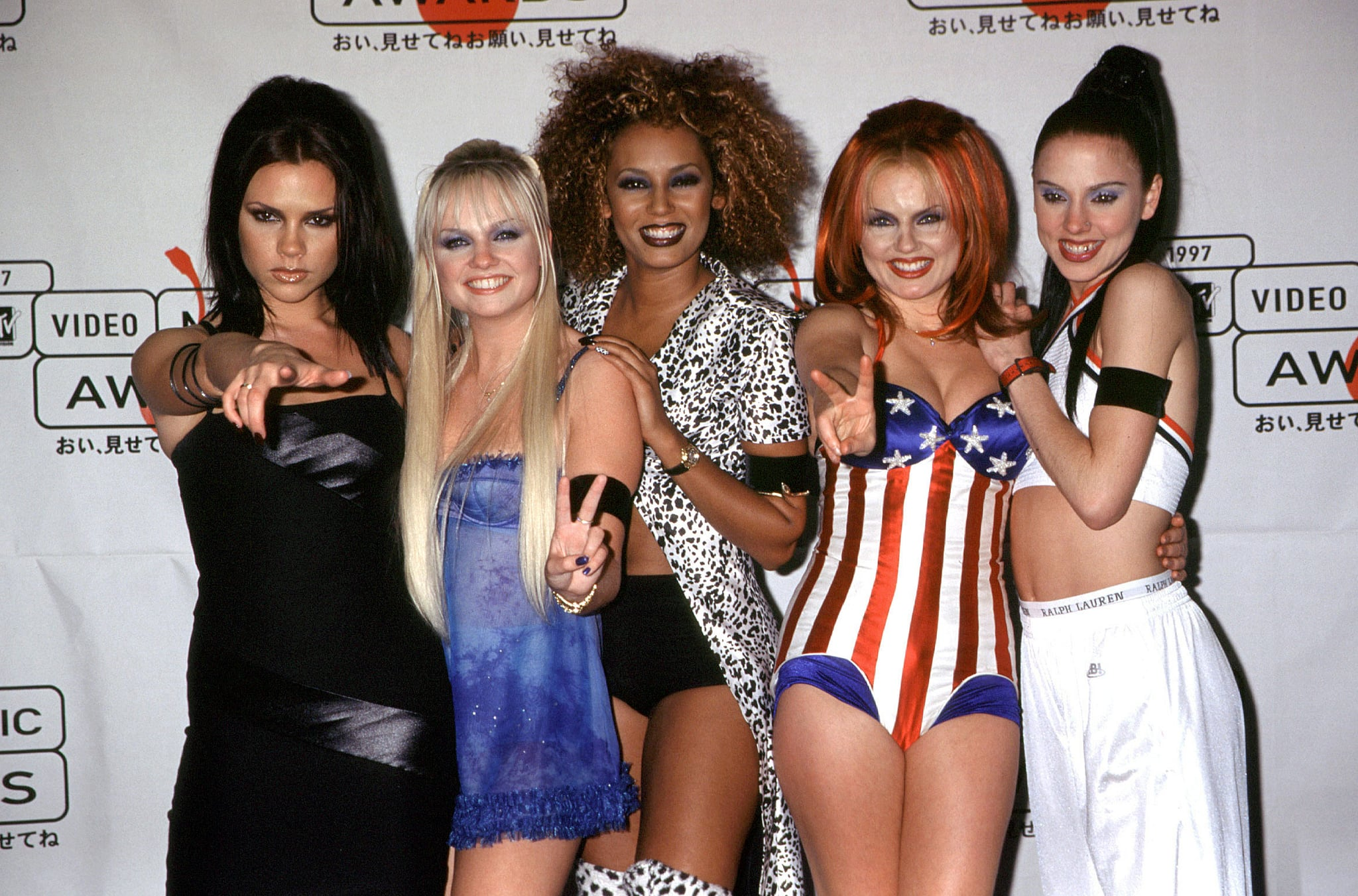 """The Spice Girls won Best Video for """"Wannabe"""" in 1997, and at the show all five members wore black arm bands as a symbol of their sadness over the passing of Princess Diana just days earlier."""