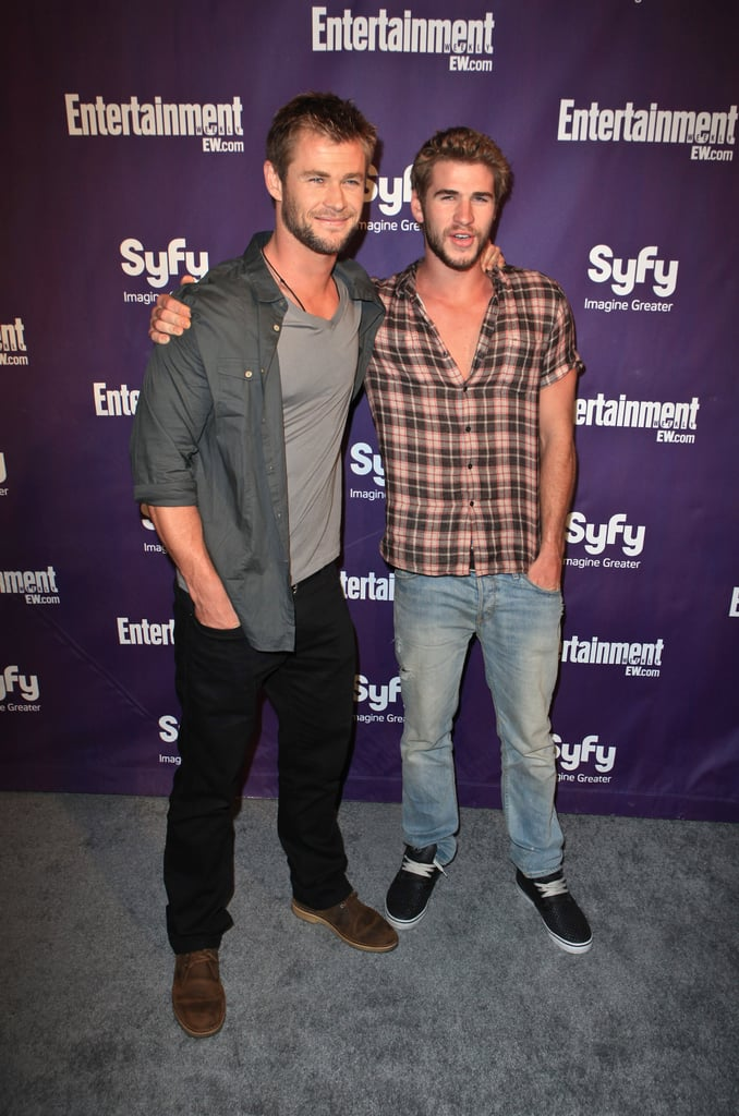 The Hemsworth brothers hit the red carpet together during Comic-Con in July 2010.