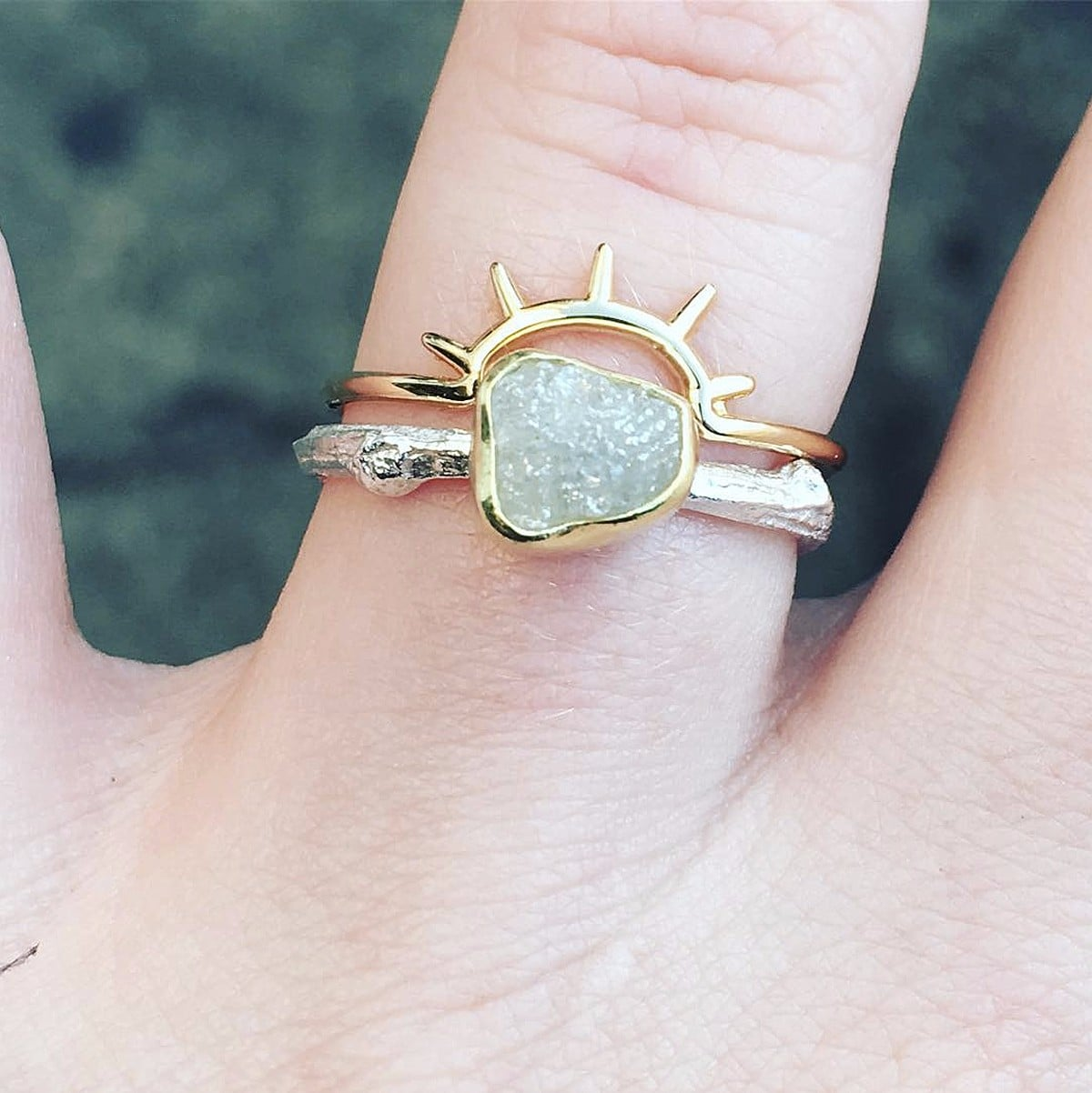 raw april rough ring gem white birthstone uncut rings gold promise engagement media diamond