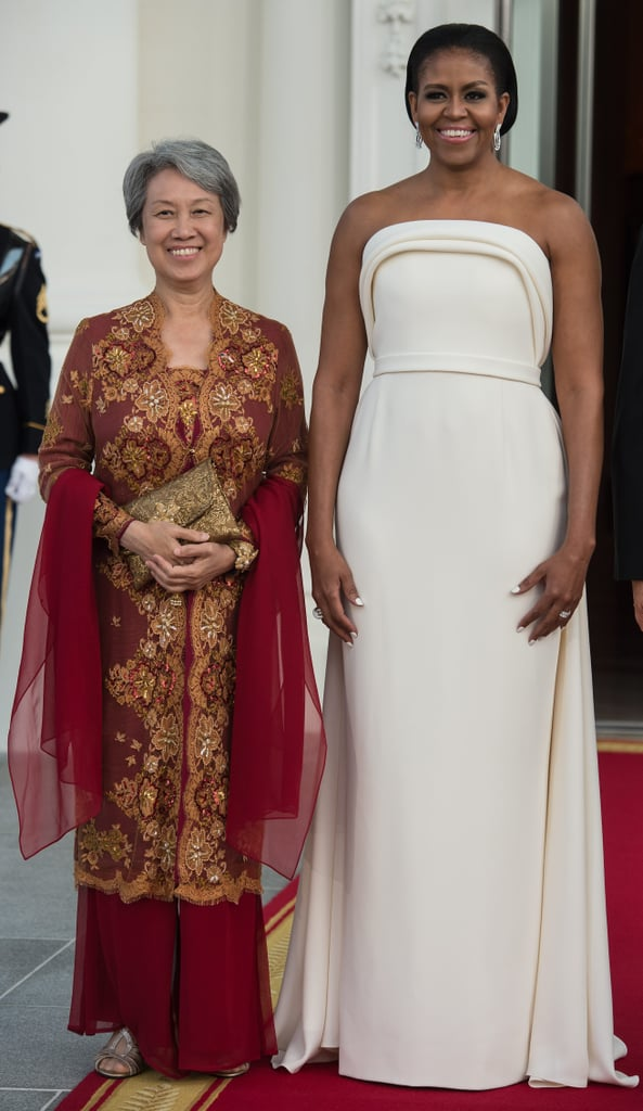 Wearing Brandon Maxwell for a state dinner in honour of Singapore's prime minister in 2016.