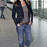 Another Aniston cameo! This time she pulls off a travel ensemble I applaud. The baggy jeans and white sneakers are comfortable, but a navy blazer pulls it all together with sophistication.