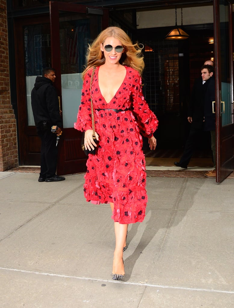 Just a day after attending the Michael Kors fashion show at New York Fashion Week, Blake Lively was spotted in the Big Apple looking like a breath of fresh air. The actress continued her streak of stunning appearances in a gorgeous red floral dress, giving us yet another reason to envy her. February is shaping up to be an eventful month for the star. Shortly after posting a naughty photo of her and husband, Ryan Reynolds, on Instagram, the couple hit the red carpet together for the first time since becoming parents at the NYC premiere of Deadpool. They also enjoyed an ultraglam night out at the amfAR Gala. Keep reading to see more of Blake, and then check out the one habit of Ryan's that drives her crazy.