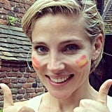 Elsa Pataky sported the Spanish flag on her cheeks.  Source: Instagram user elsapatakyconfidential
