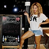 Beyoncé helped advertise shots at Brooklyn's Woodwork bar in August 2013.