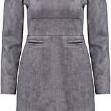 Romwe Long Sleeve Peplum Hem Suede Grey Dress ($50)