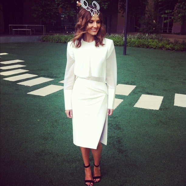 Kate Waterhouse in Dion Lee and HatMaker headpiece. Source: Instagram user katewaterhouse7