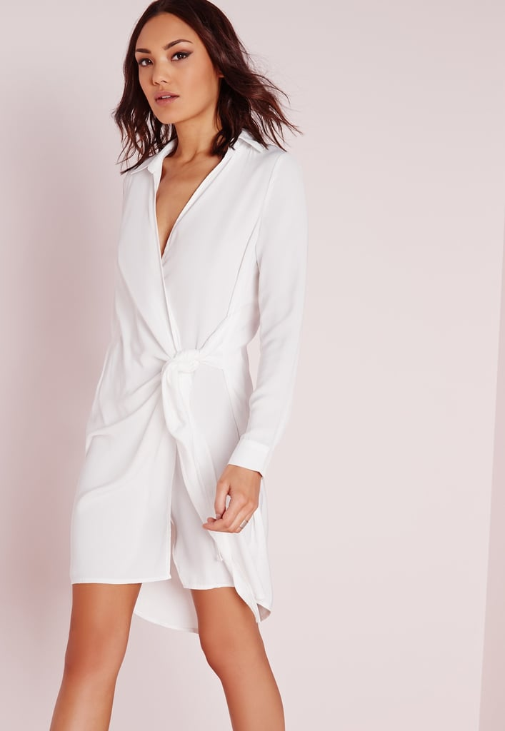 Missguided crepe wrap shirt dress white ($51)
