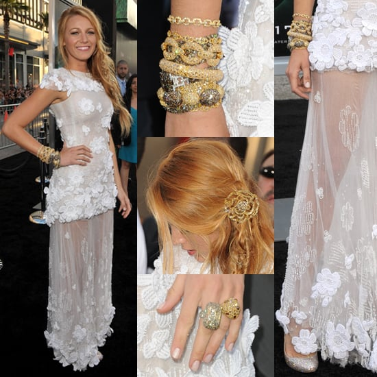 Blake Lively in White Chanel Dress at Green Lantern Premiere
