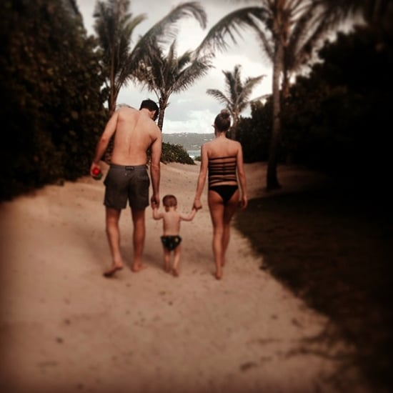 Kristin Cavallari Pregnant in Black Strappy-Back Swimsuit