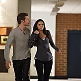Klaus may be a sexy beast, but this hold looks particularly unkind. Still, dealing with Klaus is good training for Elena.