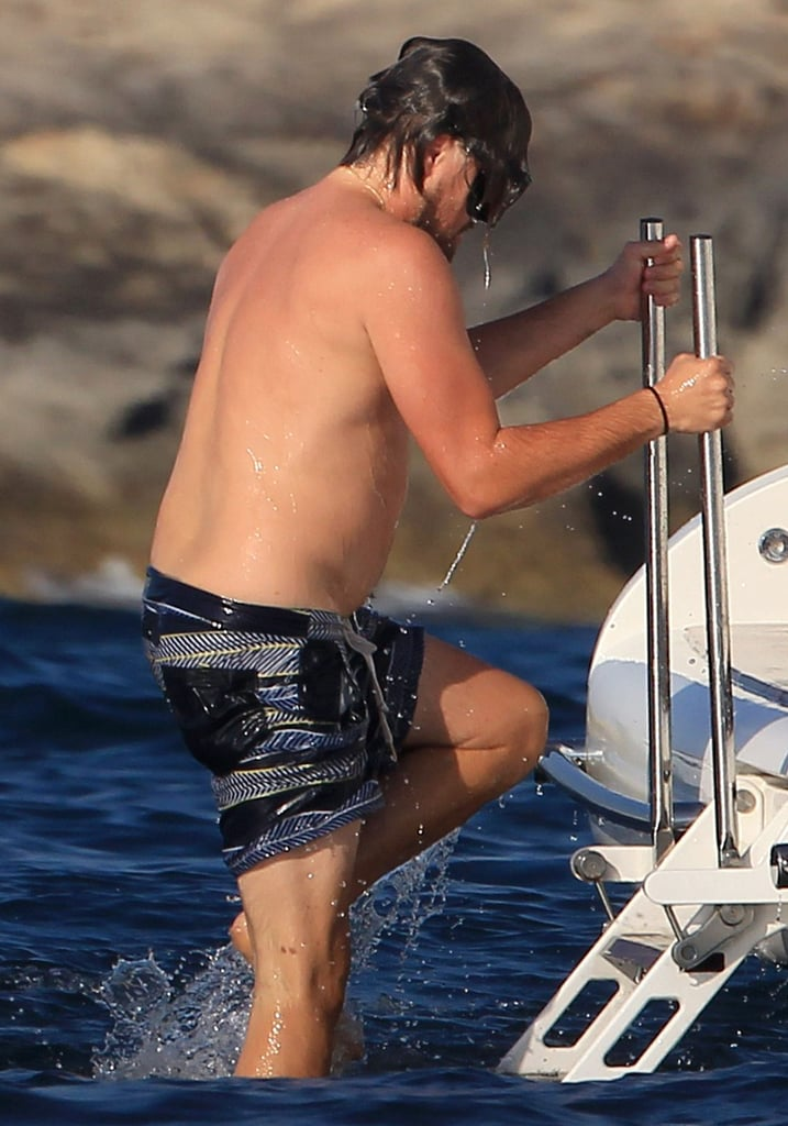 Leo wore goggles during his dip in Ibiza, Spain, on Saturday.