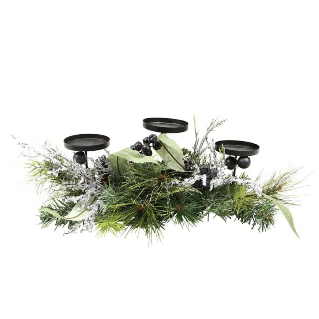 Mixed Pine with Blueberries Pine Cones and Ice Twigs Christmas Candle Holder