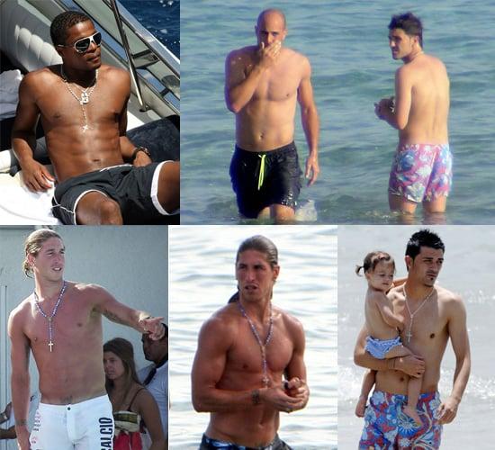 Photos of Shirtless David Villa, Topless Jose Reina, Sunbathing Patrice Evra and Sergio Ramos's Torso Plus Their WAGS In Bikinis