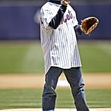 Jerry Seinfeld threw the ball around before his first pitch at the New York Mets game in May 2005.