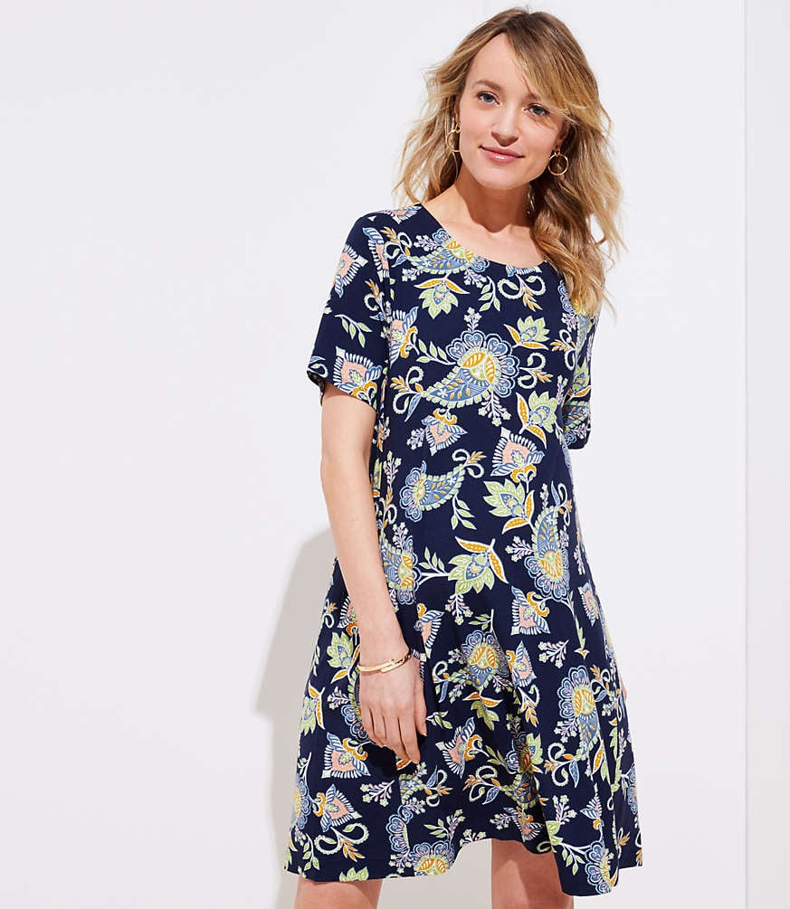 61c8936b07a Loft Maternity Floral Paisley Short Swing Dress | What to Wear to a ...