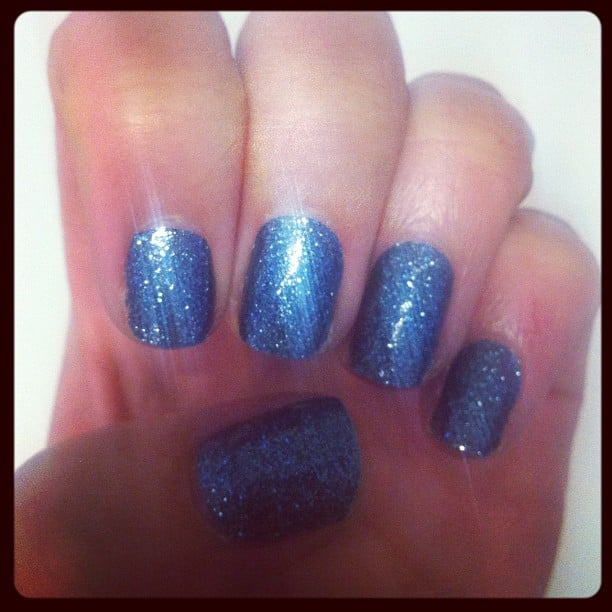 We were treated to luxe manicures, care of Sally Hansen — lucky, or what? Alison opted for glittery blue.