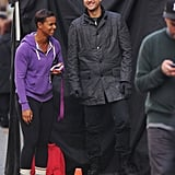 Joshua Jackson and Karina LeBlanc had a laugh on set.