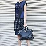 Metallic heels and bold, geometric embellishment gave this ladylike look an eye-catching twist. Source: Greg Kessler