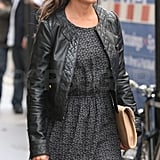 Pippa Middleton in a leather jacket.