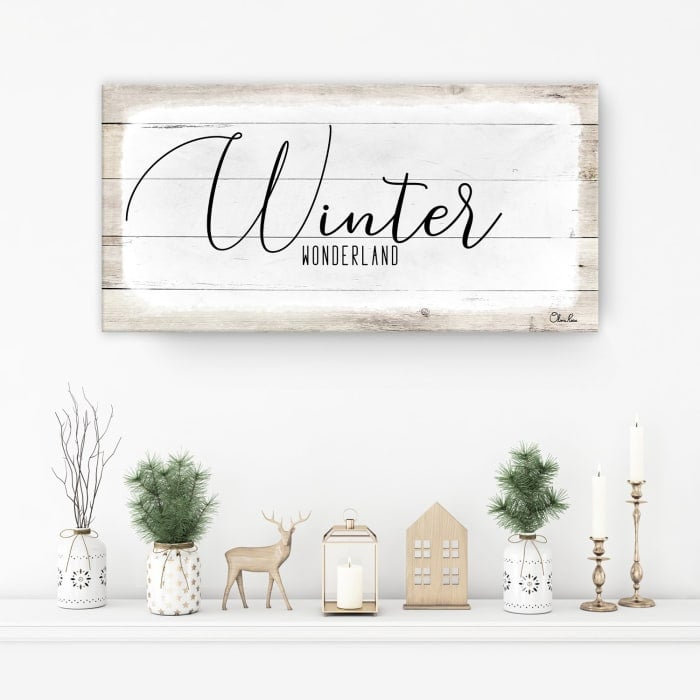 Winter Wonderland White Holiday Canvas Wall Art