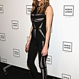 Katie Cassidy rocked dark lipstick for Saturday's Hervé Léger Spring 2014 show.