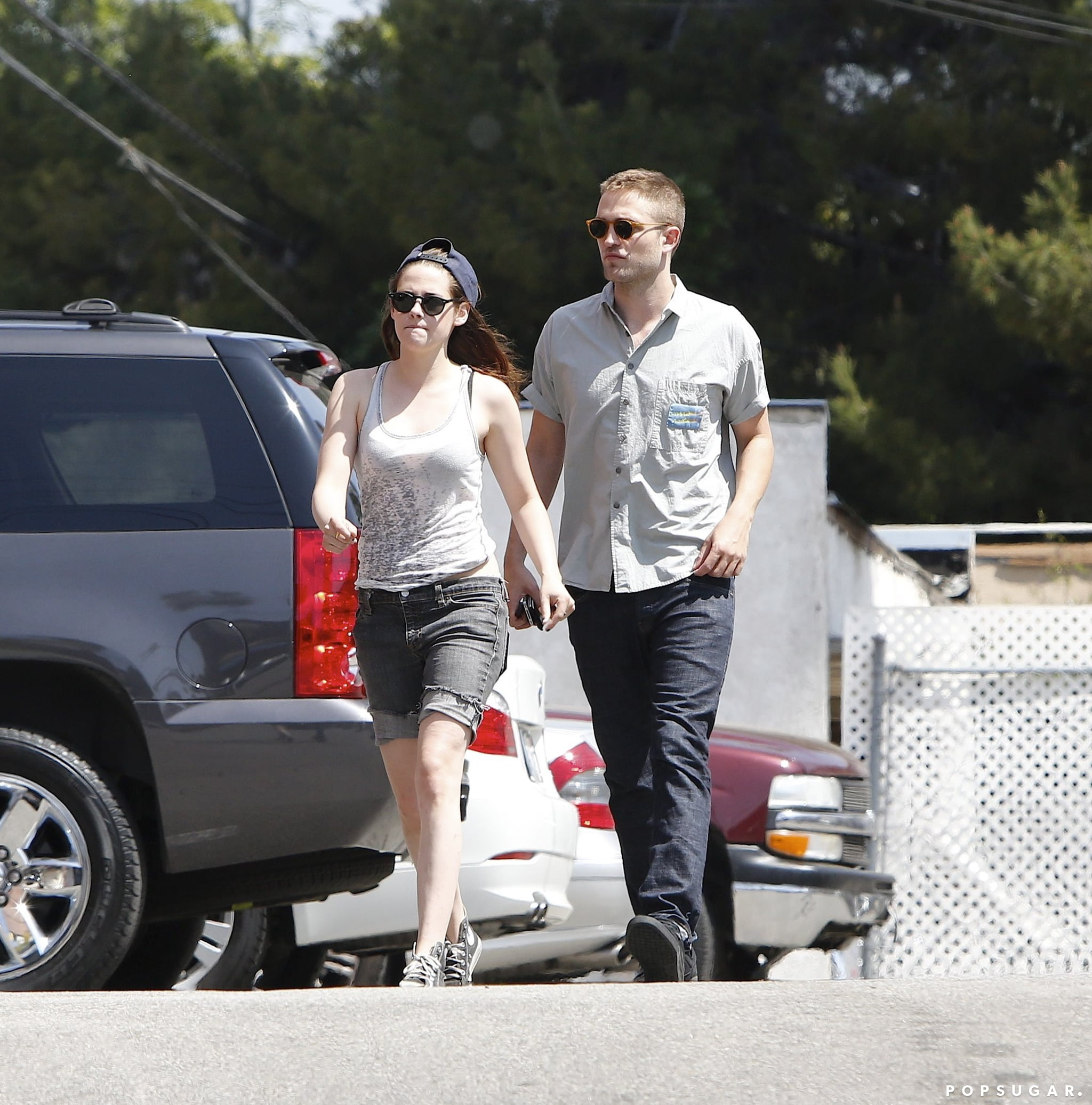 Kristen Stewart and Robert Pattinson walked side by side.