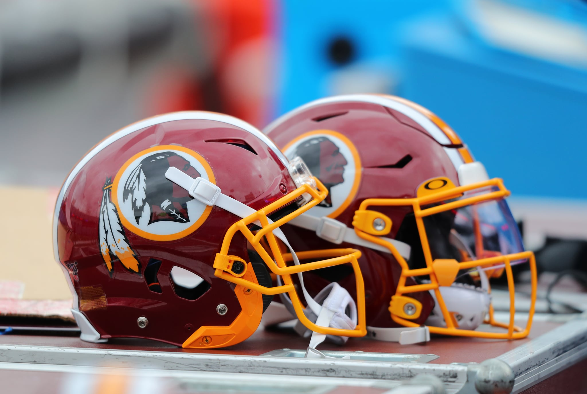 ORCHARD PARK, NY - NOVEMBER 03:  A general view of a Washington Redskins players helmet on the bench before a game against the Buffalo Bills at New Era Field on November 3, 2019 in Orchard Park, New York.  Buffalo beats Washington 24 to 9. (Photo by Timothy T Ludwig/Getty Images)