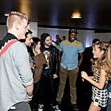 Ariana Grande chatted with Pentatonix at the Grammys Westwood One Radio Remotes.