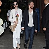 Anne Hathaway attended the Stella McCartney presentation in NYC with Adam Shulman.