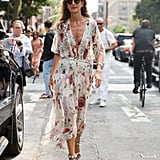 Sarah Rutson wearing Alaïa shoes at New York Fashion Week