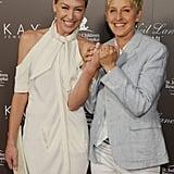 Ellen DeGeneres and Portia de Rossi showed off their wedding bands at a July 2010 event in LA.