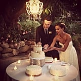 During their big day, Damien Fahey and Grasie Mercedes cut the cake underneath a chandelier.  Source: Instagram user bradleymeinz