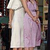 Twinning combo: The girls looked picture perfect in silky pastel dresses and prim pumps while accepting their star on the Hollywood Walk of Fame in 2003.   Ashley wore a white flutter-sleeve dress with beaded embellishments and snakeskin pumps.  Mary-Kate complemented her lilac halter with navy suede peep-toe pumps and chandelier earrings.