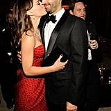 Natalie Portman and Benjamin Millepied kissed at this year's Vanity Fair Oscars bash.