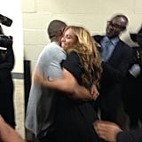 Jay Z hugged his wife, Beyoncé, after her Super Bowl halftime performance in February 2013.