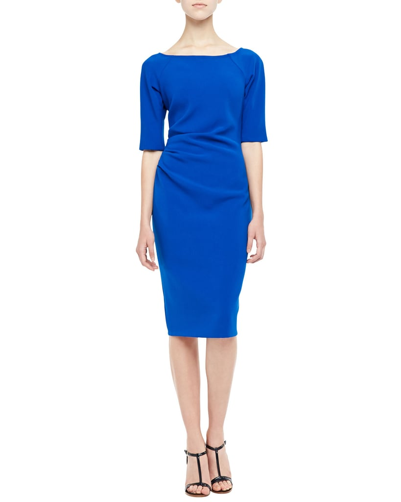 Lela Rose 3/4-Sleeve Ruched Dress ($995)