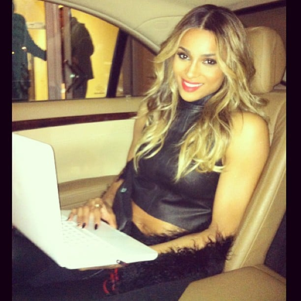 Ciara got some work done on her laptop while en route to a New Year's Eve bash. Source: Twitter user ciara
