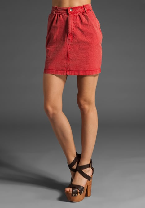 A classic cut in an eye-catching bright red hue.  Harley 5.0. Vintage Red Denim Skirt ($98)