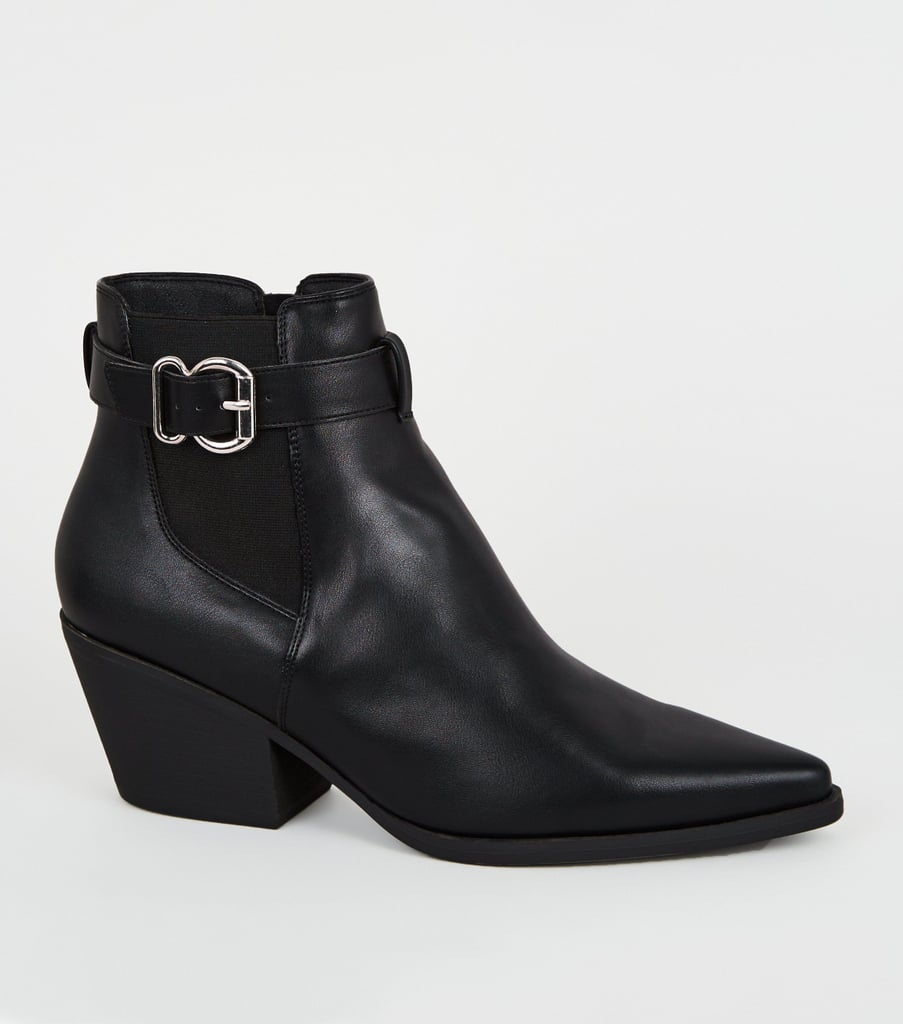 New Look Black Leather-Look Pointed Chelsea Boots