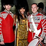 Naomi Campbell Celebrating With a Couple of London Guards