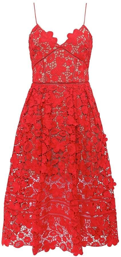 c08bb436781b Self-Portrait 3D Floral Lace Azaelea Dress | Sexy Red Dresses For ...