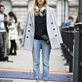 Oh how sophisticated your boyfriend jeans will look with your favorite menswear-inspired coat tossed nonchalantly over your shoulders.  Source: Le 21ème   Adam Katz Sinding